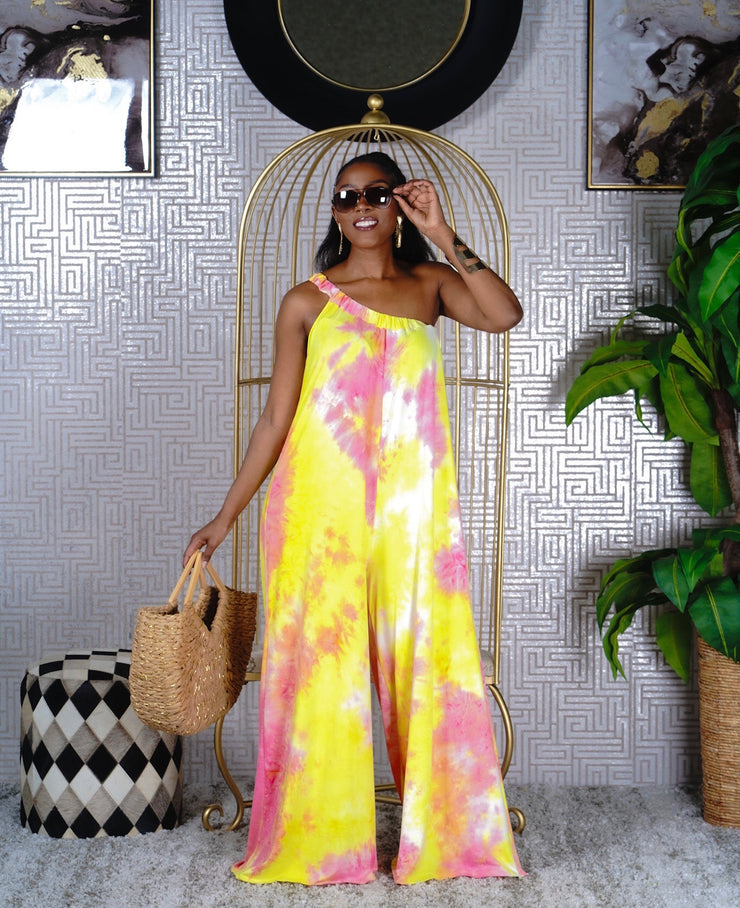 Tie Dye One Shoulder Jumpsuit