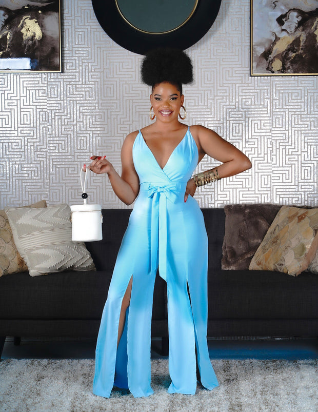 Double slit wide leg jumpsuit