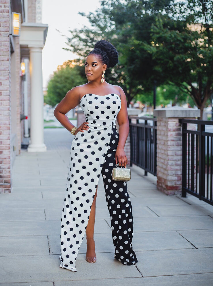 Black and white Asymmetrical jumpsuit.