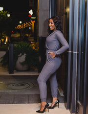 Smokie gray knit jumpsuit