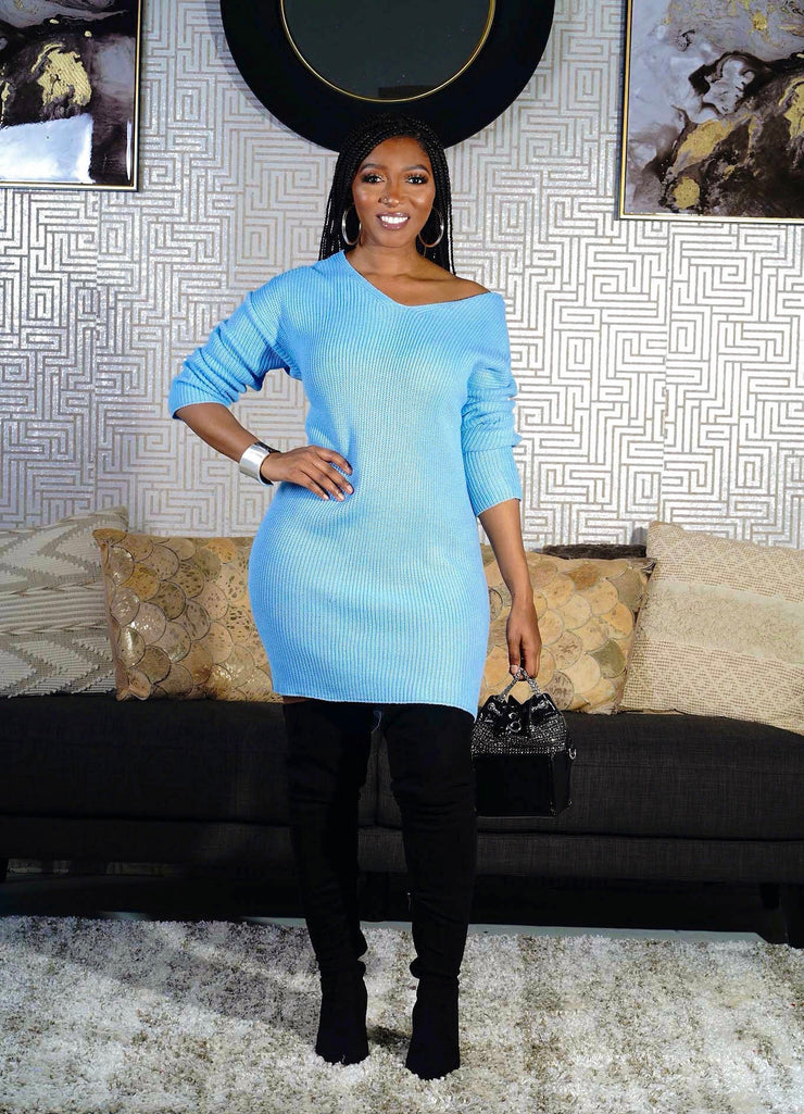 Baby blue sweater dress