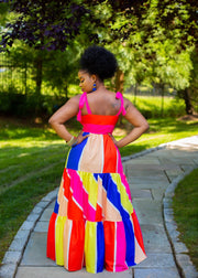 Multi color tassel wrapped dress