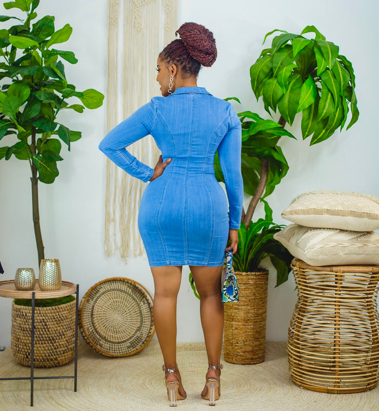 Miss me with it stretchy denim dress