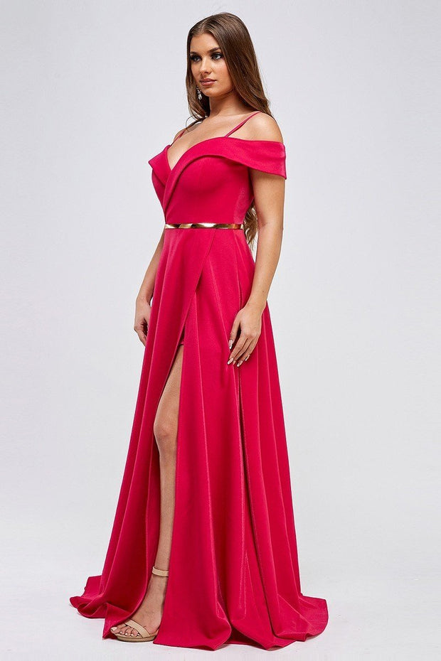 Devine high slit gown