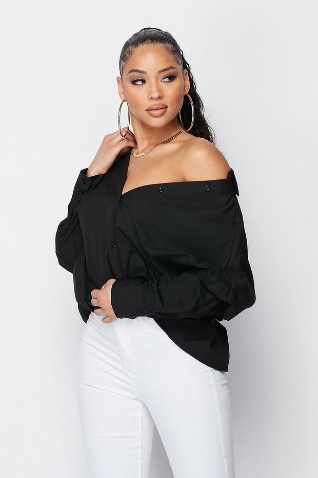 Off shoulder dress shirt