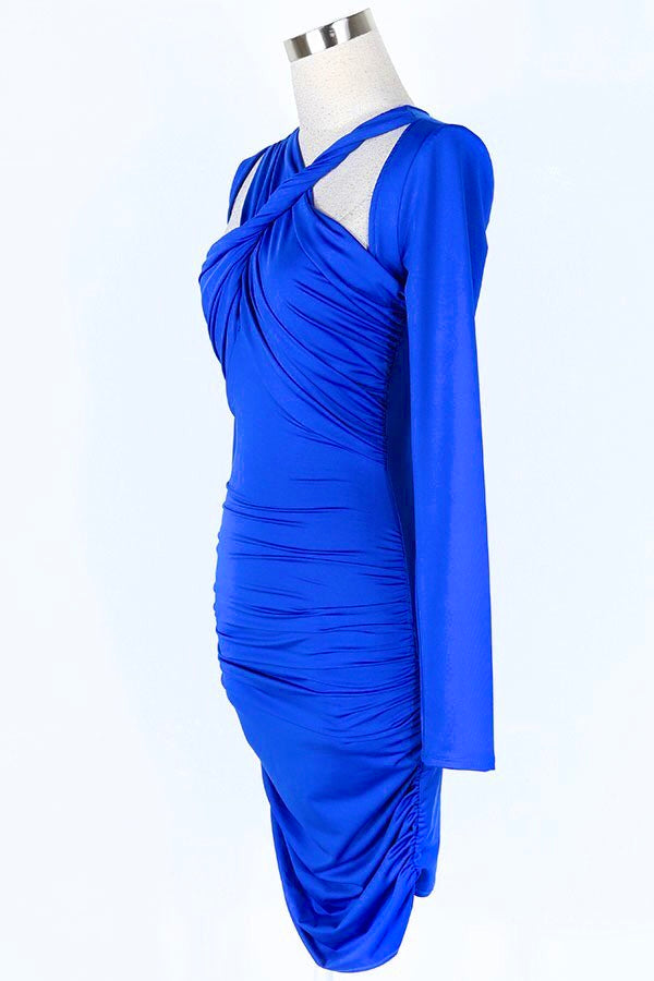 Royal ruched bodycon dress