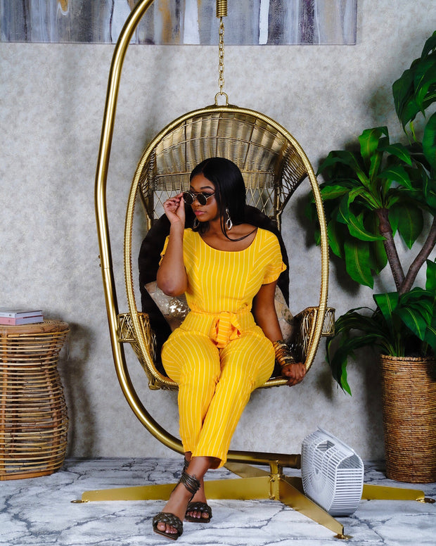 Pinstriped yellow jumpsuit