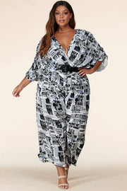 Newsprint Print Flowy surplice jumpsuit