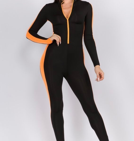 FRONT ZIPPER DETAIL TRACK JUMPSUIT