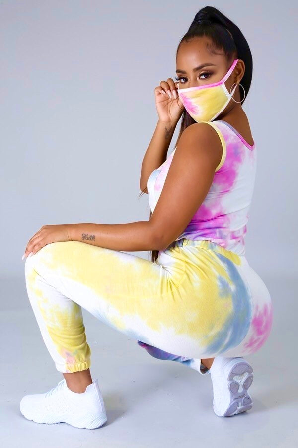 Tie dye jumpsuit with matching mask