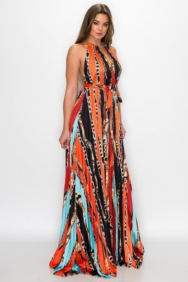 Dina Print Gold Chain Neck Halter Dress