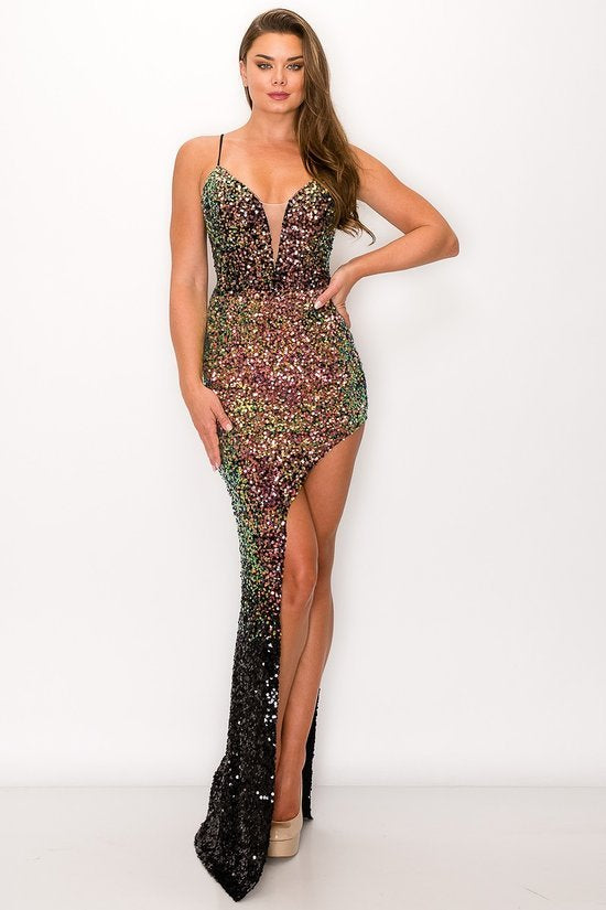 Sequin lace tied Back gown
