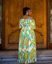 Pleated off shoulder maxi