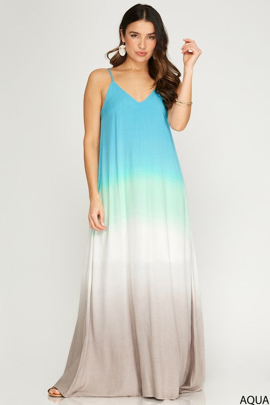 OMBRE DYED WOVEN CAMI MAXI DRESS