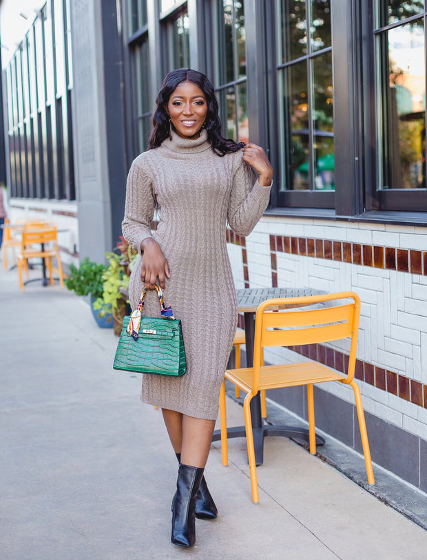 Knit midi sweater dress