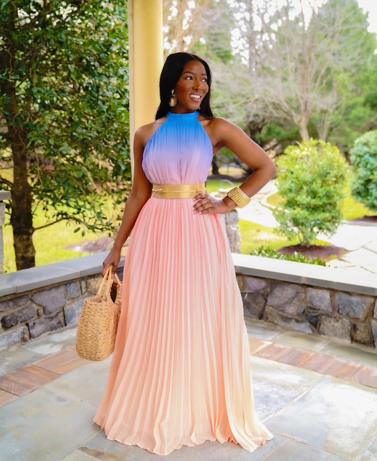 Ombré pastel colors maxi dress