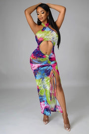 Naenia Multi-Color Maxi Ruched Dress