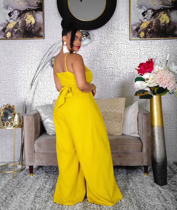 Johanna Mustard Yellow Front Slit Wide Jumpsuit