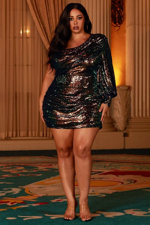 Kiss me when the ball drops mini dress ( plus size )