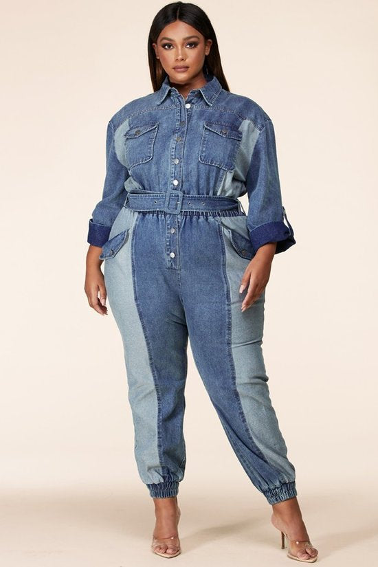Denim long sleeves jumpsuit