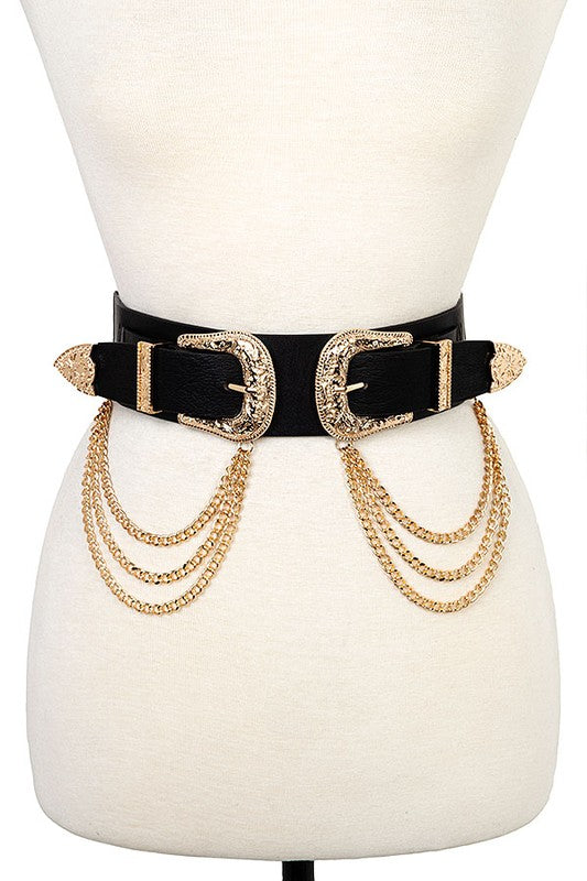 BUCKLE CHAIN DRAPPED BELT