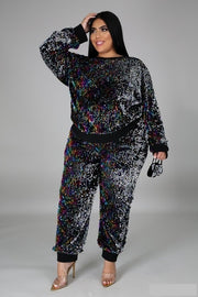 Sequin jogger two piece set