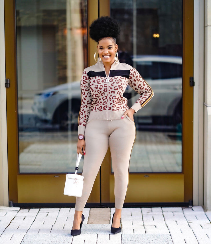 Leopard print  Knit Zip Pants set