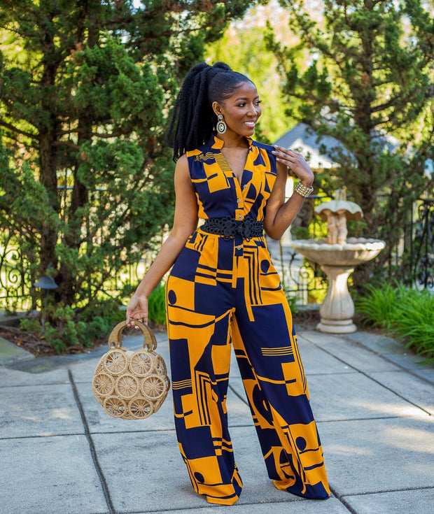 Gold Bold and Beautiful wideleg jumpsuit