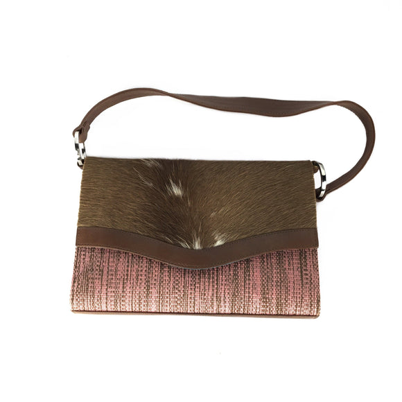 Kuskaya. Brown and Pink Handbag with Brown Strip. Lima, Peru.
