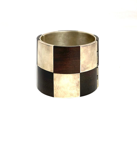 Carmen Tapia. Silver and Wood Checkered Bracelet. Guerrero, Mexico.