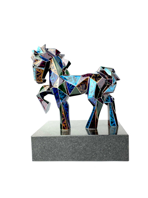 Andriacci Blue Horse Sculpture. Oaxaca, Mexico.