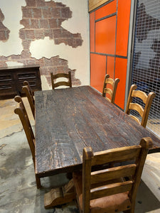 Farm Table with Reclaimed Tressel Base.