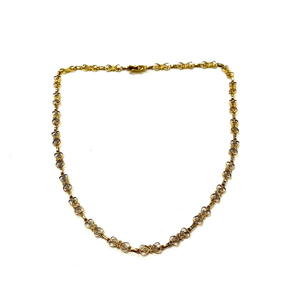 Oro de Monte Alban. Gold Filigree Hearts Necklace. Oaxaca, Mexico.