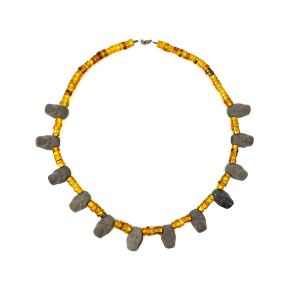 Amber Necklace with Grey Faces. Oaxaca, Mexico.