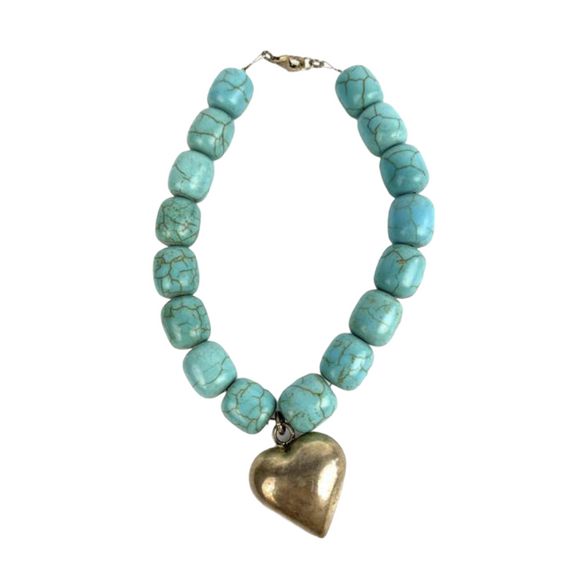 Turquoise Bracelet with Silver Heart. Oaxaca, Mexico.