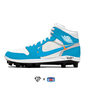 """UNC OW"" Jordan 1 Retro Cleats"