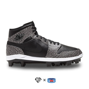 """Black Elephant"" Jordan 1 Retro Cleats"