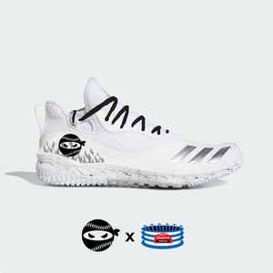 """Pitching Ninja- Silver Flames"" Adidas Icon V Turf Shoes"