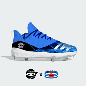 """Pitching Ninja- Blue Flames"" Adidas Icon V Cleats"