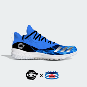 """Pitching Ninja- Blue Flames"" Adidas Icon V Turf Shoes"