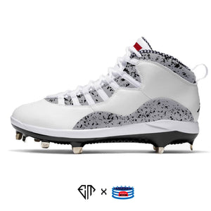 """Cement"" Jordan Retro 10 Metal Baseball Cleats"