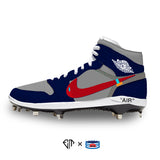 """Navy/Gray OW"" Jordan 1 Retro Cleats"