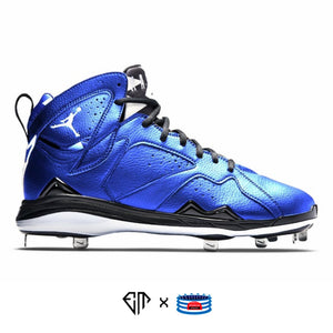 """Metallic Blue"" Jordan 7 Retro Cleats"
