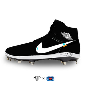 """OW-Black"" Jordan 1 Retro Cleats"
