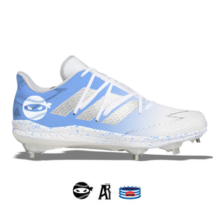 """Pitching Ninja- Carolina Blue Fade"" Adidas Afterburner 7 Cleats"