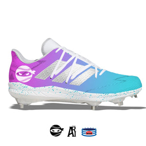 """Pitching Ninja- South Beach"" Adidas Afterburner 7 Cleats"