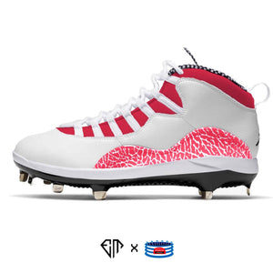 """Red Cement"" Jordan Retro 10 Metal Baseball Cleats"