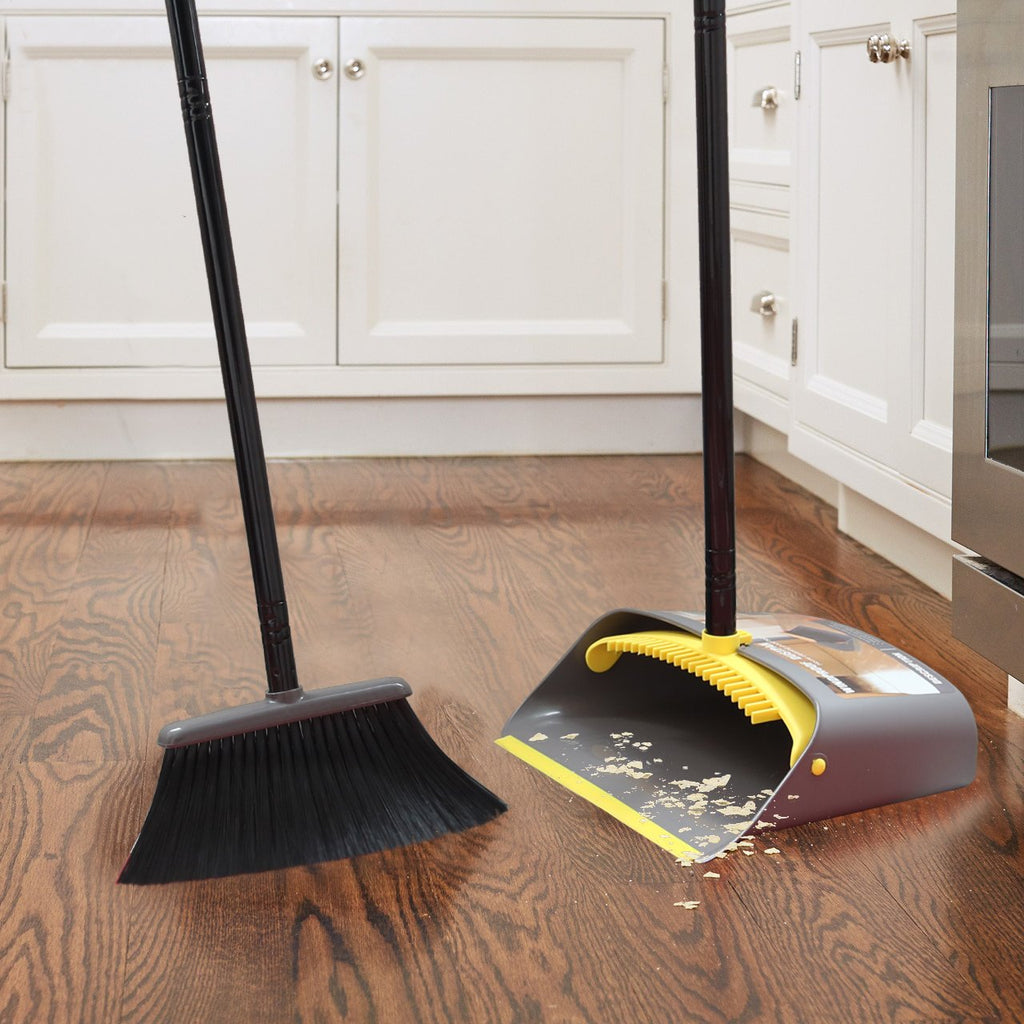 Broom and Dustpan Set with Long Extendable Handle, Yellow and Dark Grey