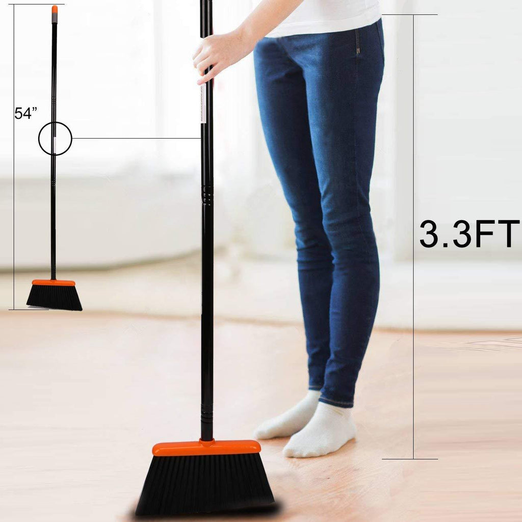 Broom and Dustpan Set with Long Extendable Handle, Orange and Dark Grey
