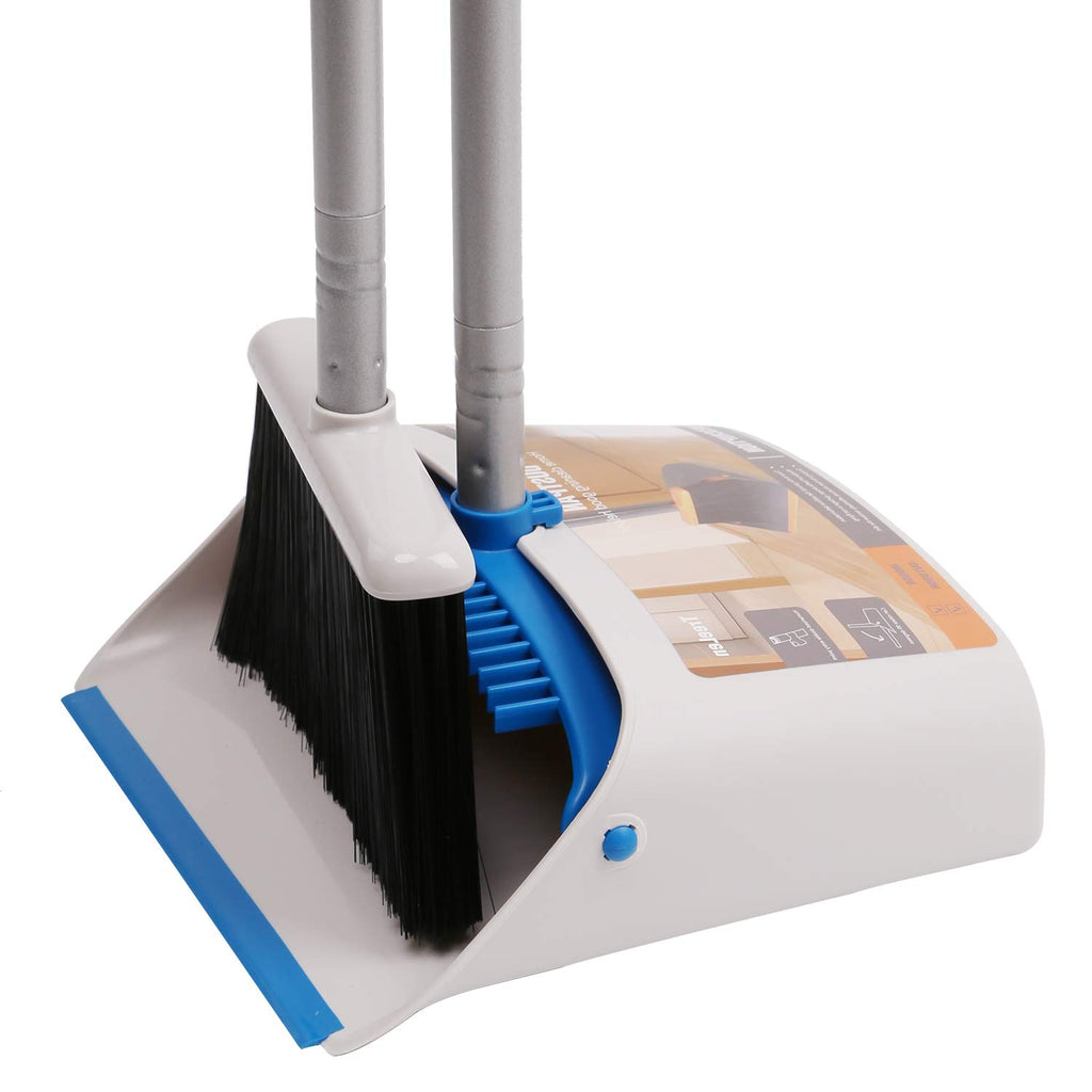 Broom and Dustpan Set with Long Extendable Handle,Blue and Dark Grey